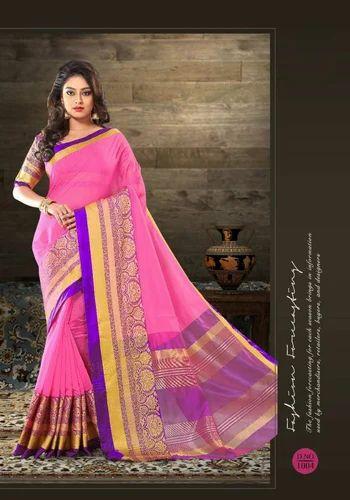 13290378b45a53 Ziyaan Women s Tussar Silk Pink Kanchipuram Saree With Blouse Piece ...
