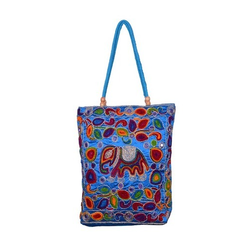 Cotton Canvas Casual Wear Blue Embroidered Bags