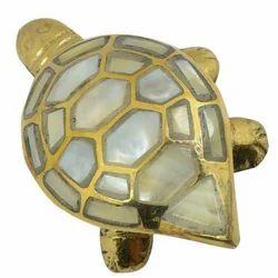 Golden Brass Turtle Statue With Secrete Compartment, for Interior Decor