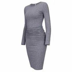Plain Grey Ladies Bamboo Western Dress, 200G, Machine wash