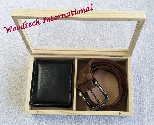 Wooden Wallet & Belt Combo Box