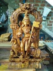 Lord Muruga 2 1/2 Feet Wooden Idol