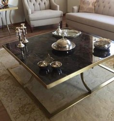 Stainless Steel Rose Gold Coated Coffee Table, For Home