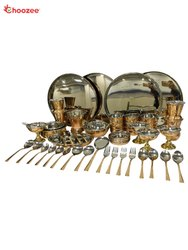 Copper / Stainless Steel Thali Set(58 Pcs) for 4 People