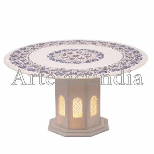 White Marble Round Inlay Coffee Table Top Id 20509283512