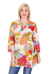 3/4th Sleeve Cotton Printed Blouse