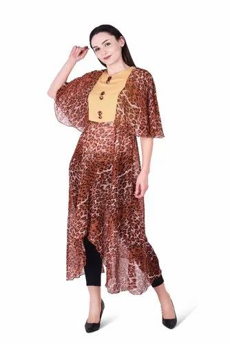 Round Neck 3/4th Sleeve Leopard Print Dress