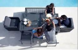 GEBE Wicker Outdoor Modern Dining Set