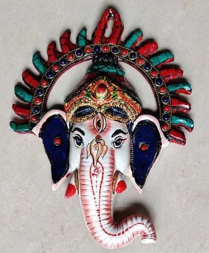 Metal Painted Ganesha Face With Stone Work