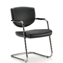 Visitor Black Leather Chair