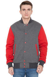 Grey Wool Body With Scarlet Leather Sleeves Varsity Jacket