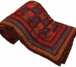 Handmade Quilt, Floral Quilt, Indian Hand Block Print Quilt, Cotton Quilt