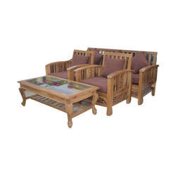 e5a34c0443 Brown Teak Wood Sofa Set With Center Table, Rs 22500 /set | ID ...