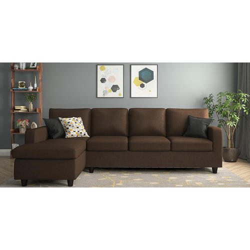 Brown Leather And Solid Wood Compact L Shape Sofa Set