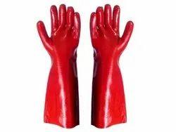 Red PVC Gloves 14inch, DONN IT PVC GLOVES