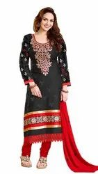 Unstitched Red Georgette unstiched suits, Dry clean