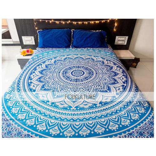 Perfect Cotton Blue Majestic Bed Sheet With 2 Pillow Covers For Double Bed