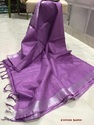 Cotton Purple Plain Casual Wear Saree, Length: 6.3 M
