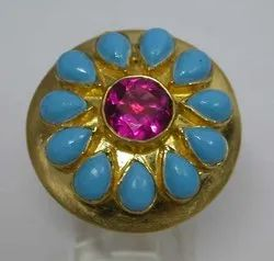Online Women Gemstone Silver Turquoise Ring Offers 925 Sterling Silver Ring Jewelry