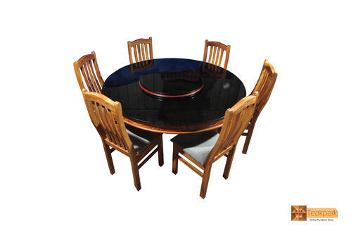 Yamuna Round Teak Wood Dining Set Glass Top Table With Chairs At - Wooden dining room table with 6 chairs