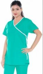 Patient Dress- Front Open Overlap With Bottom- 100% Cotton- Green