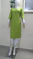 Expressive fashion Cotton Rayon Embroidery Kurti With Palazzo Pant, Handwash