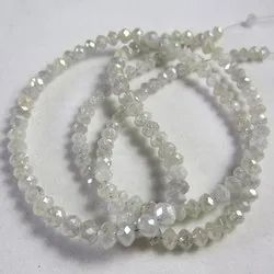 Round Shape White Faceted Diamond Beads Necklace Strands, Size: 2 To 3 mm