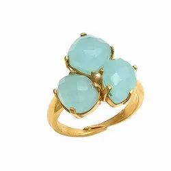 Aqua Chalcedony Gemstone Ring