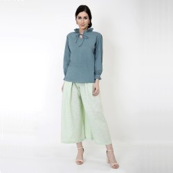 Teal Shirt With Pleated Sleeves and Pants Set