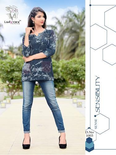DESIGNER DENIM STITCH TOP