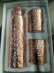 COPPER Polished Hammer Bottle Set With Glass, Screw Type