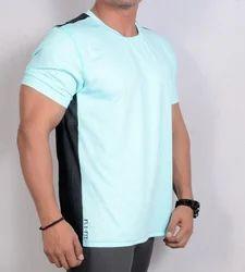 M Sky Blue With Black Back Men's T Shirt
