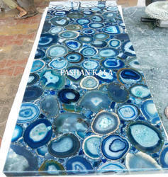 Blue Agate Gemstone Decorative Slab