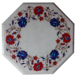 White Marble Corner Table Top Malachite Multi Stone Mosaic