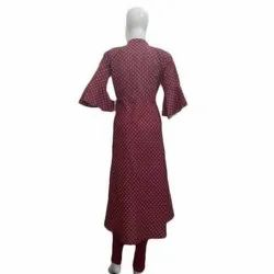 Casual Wear 3/4th Sleeve Ladies Designer Long Cotton Kurti, Size: XL