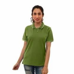 Cotton Ruffty Polo Women Military Green With White Tipping T-shirt, Size: XS-3XL