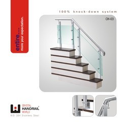 Stainless Steel Powder Coated Staircase Glass Railing