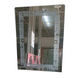 Mahendra Glass Rectangular Fancy Wall Mirror, For Home, Thickness: 4 - 8 mm