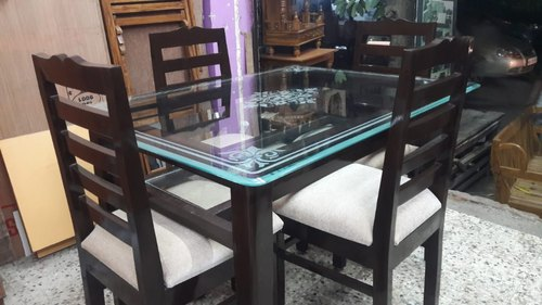 Brown Solid Teakwood Glass Dining Table Set Rs 22000 Set Id