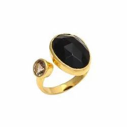 Black Onyx & Smoky Topaz Ring
