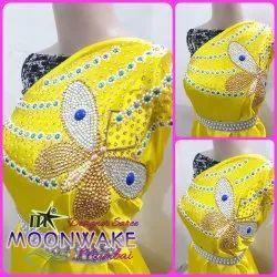 M-Star Party Wear Moonwake Designer Satin Saree with Handwork, 6 m (with Blouse Piece)