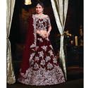 Satin Maroon Bridal Lehenga, Sizes: S To Xl