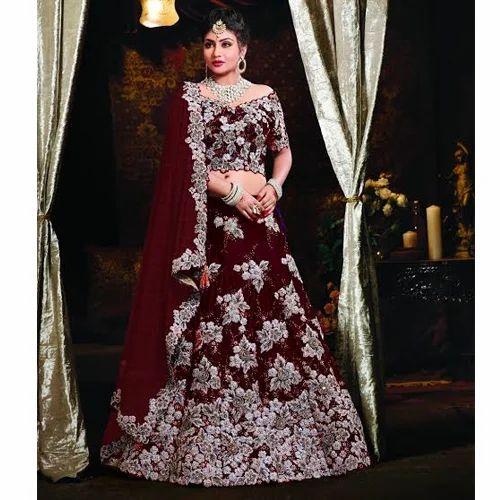 391f908d2f Satin Maroon Bridal Lehenga, Sizes: S To XL, Rs 6500 /piece | ID ...