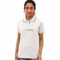 Striped Half Sleeve White Ladies T Shirt