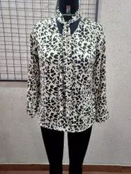 Ladies Printed Front Neck Tie Shirt