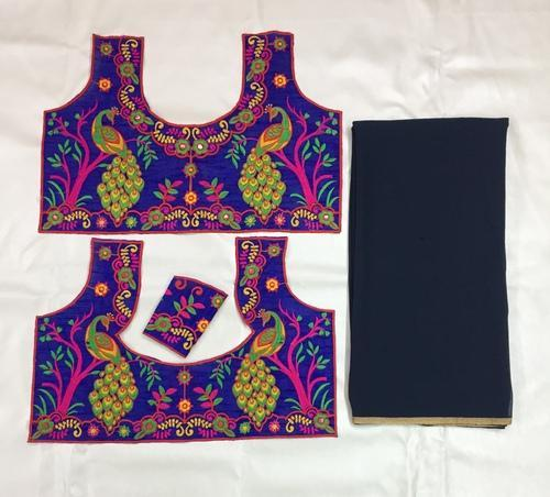 77054097d4c28 Kutchi Work Embroidery Blouse With Plain Saree