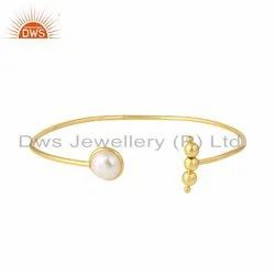 Yellow Gold Plated Silver Natural Pearl Cuff Bangles Jewelry