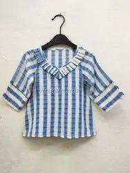 Casual Wear Blue Girls Cotton Top