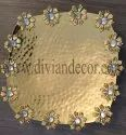 Square Metal Tray with Flower Decoration
