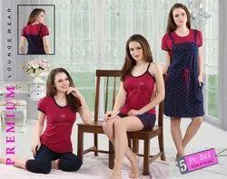 Short, Long Female KuuKee 9240 Hosiery 5 Piece Nightwear Set